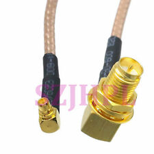 """cable FPV right angle RP.SMA plug nut bulkhead to MMCX male RA RG316 6"""" pigtail"""