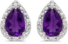 14k White Gold Pear Amethyst And Diamond Earrings