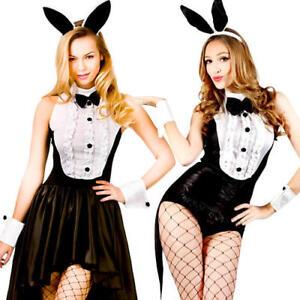 Hot Play Boy Bunny Rabbit Hostess Fancy Dress Easter Halloween Ladies Costumes