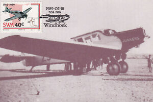 UNION AIRWAYS JUNKERS F-13  ZS-ABU AT WINDHOEK, SOUTH WEST AFRICA  1989 POSTCARD