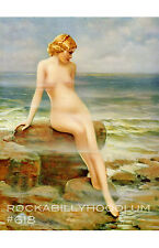 Pin Up Girl Poster 11x17 Sexy nude bathing beauty ocean sea beach blonde