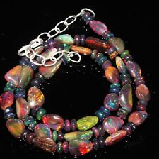 "52 CT 16"" GENUINE ETHIOPIAN WELO FIRE OPAL BLACK TUMBLE BEADS NECKLACE-7992"
