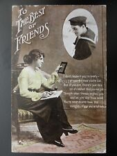 Naval Sailor to His Girl TO THE BEST OF FRIENDS c1912 Postcard