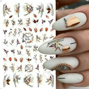 Nail Art Stickers Decals Autumn Winter Fall Flowers Floral Fern Leaf Leaves