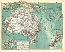 Alte Landkarte 1908: Australien Melanesien und Neuseeland Fidschi (Mkl7)