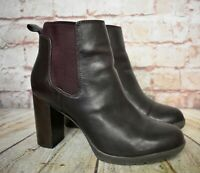 Womens Clarks Aubergine Leather Pull On High Heel Boots Size UK 6 D EUR 39.5