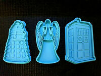 Custom Cookie Cutters Dr Doctor Who set TARDIS Dalek Angel clay fondant cake