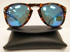 PERSOL 714 SUNGLASSES Polarized BLUE Steve McQueen DARK HAVANA Size 52