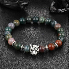 Fashion Men Black Lava Stone Gold Silver Lion Beaded Cuff Charm Bangle Bracelet