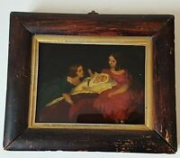 Small Antique Reverse Painted on Glass Picture Painting Royal Baby King Edward?