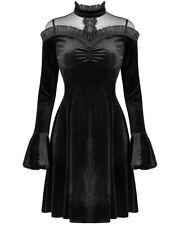 Dark In Love Gothic Velvet Mini Dress Black Polka Dot Lace Mesh VTG Victorian