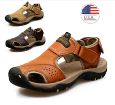Mens Summer Sandals Sports Beach Leather Shoes Closed Toe Walking Hiking US