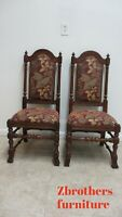 2 Ethan Allen Royal Charter Oak Jacobean Dining Room Throne Side Chairs B