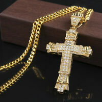 """Hip Hop Men's 18K Gold Plated Iced Out Cross Pendant Necklace 24"""" Tennis Chain"""