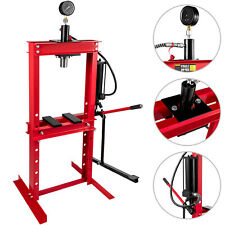 Presse d'Atelier Hydraulique 12T avec Pompe à Pédale et Manomètre Garage Auto