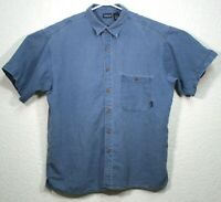 Patagonia Mens Blue 100% Hemp Short Sleeve Button Down Size Large Shirt EUC