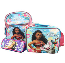 """Disney Moana 12"""" Small School Backpack Book Bag + Lunch Bag/Pencil Pouch 3pc Set"""