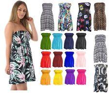 WOMENS LADIES PLAIN BOOB TUBE SHEERING BANDEAU TOP SUMMER  DRESS Plus Sizes