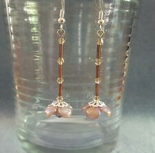 Sparkly champagne crystal & faux pearl elegant flower drop earrings 6 cm long