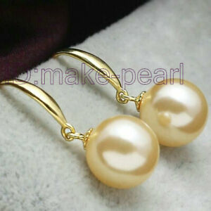 Gorgeous 8.5mm AAA+ Perfect Round Golden South Sea pearls Dangle Earring
