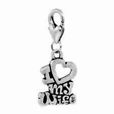 I Love My Wife Heart Husband Words Bride Lobster Clip Dangle Charm for Bracelets