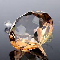 Khaki Cut Crystal Diamond Shape Paperweight Glass Gem Display Ornament Gift 40mm
