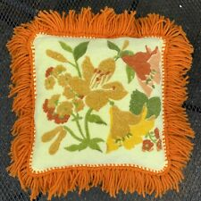 Vintage Terry Cloth Accent Pillow W/Lily Flower Pattern & Yarn Fringe