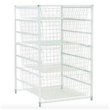 Metal Wire Closet Clothing Clothes Organizer Storage Rack Basket Shelves Drawers