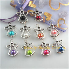10Pcs Mixed Glass Angel Wings Tibetan Silver Tone Charms Pendants 16.5x23mm