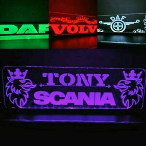 Personalised 12V Truck Lorry Interior Engraved Usb Led Light RGB Color changing