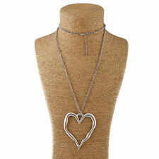 Antique Silver Lagenlook Large Abstract Alloy Heart Pendant Long Chain Necklace