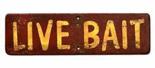 NEW! Live Bait Sign Vintage Cabin Signs Rustic Weathered Fishing