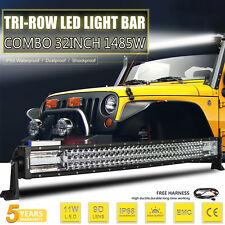 8D OSRAM Tri-row 32inch 1485W LED Light Bar Offroad Spot Flood Work Driving Lamp