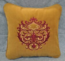 """Embroidered Pillow made w Camel Brown No Wale Corduroy trim self cording 16"""" NEW"""