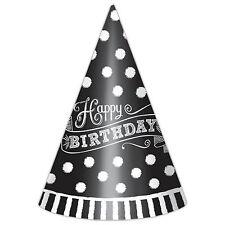 12 Classic Black & White HAPPY BIRTHDAY PARTY CARTA Cono Cappelli