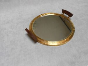 1950s French Vintage  wood mirrored  Tray