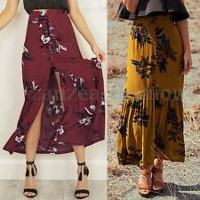 Women Floral Printed A Line Split Ruffle Boho Beach Loose Skirt Long Maxi Dress