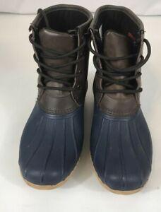 Merona Women's Leather Duck Boots - Dark Tan with Blue Bottom Size 8 Waterproof