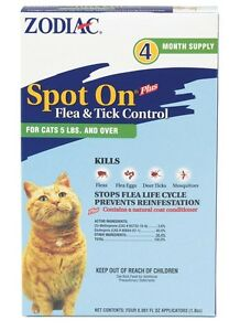 Zodiac Spot On Plus Flea & Tick Control for Cats Over 5lb 4pk Fee Shipping
