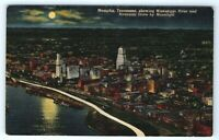 Vintage Linen Postcard Memphis Tennessee Mississippi River Moonlight Aerial View