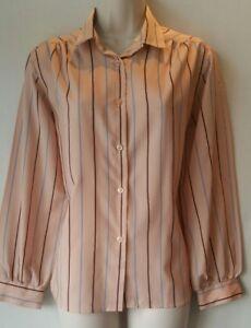 Ladies Vintage blouse long sleeve stripe print size 14 blush nude burgundy grey