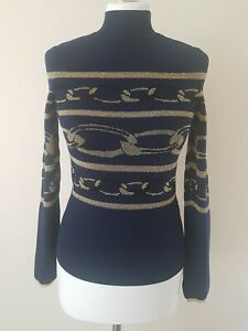 River island top long sleeve turtle neck navy with gold print size 8 brand new