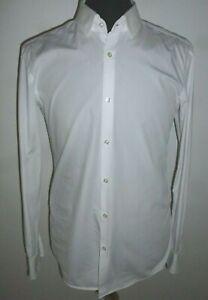 "Mens Hugo Boss Slim Fit Dress Shirt Jenno Cotton White Formal Size 40"" Chest"