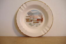 ~VINTAGE CERAMIC ASHTRAY WITH WINTER SCENE~CHARTIERS VALLEY SAVINGS & LOAN~