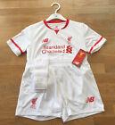 BNWT Liverpool FC Away Football Kit 2015-16 Kid's Children Size 4-5 Years, White