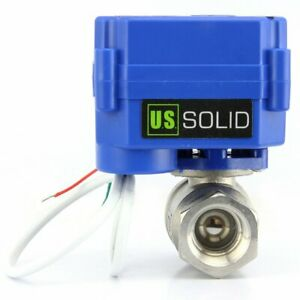 "U.S. SOLID 1/4"" Motorized Ball Valve, SS304, AC 85-265V, 2 Wire Auto Return"