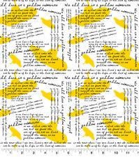 Beatles Yellow Submarine Cotton Fabric Lyrics by Lennon McCartney