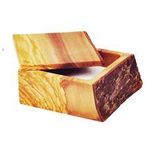 "Pacific Merchants 4.5"" x 4.5"" Rustic Olivewood Salt Box / Cellar"