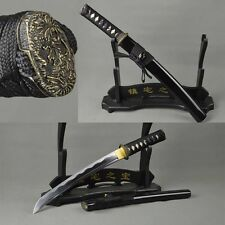 CARBON STEEL JAPANESE SAMURAI SWORD GENUINE RAYSKIN TANTO FULL TANG BLADE SHARP