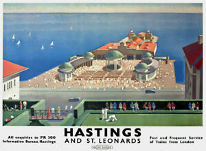 TX542 Vintage Hastings St Leonards Travel Poster British Railway A2/A3/A4